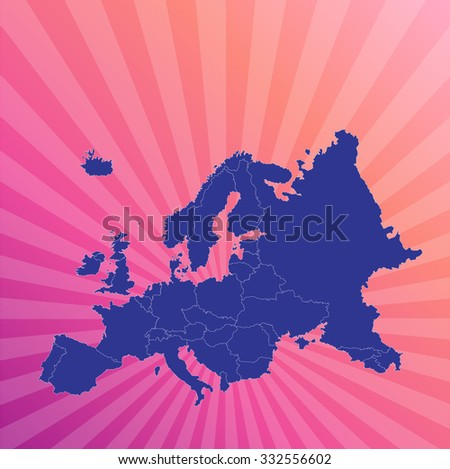 Map of Europe And Background - Vector Illustration - stock vector