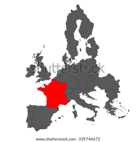 Map of Europe in gray with red France vector - stock vector