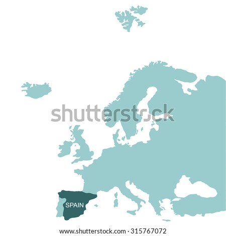 Map of Europe, Spain - stock vector