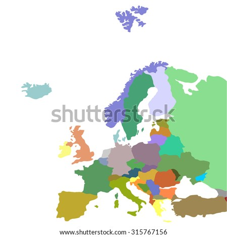 Map of Europe, vector - stock vector