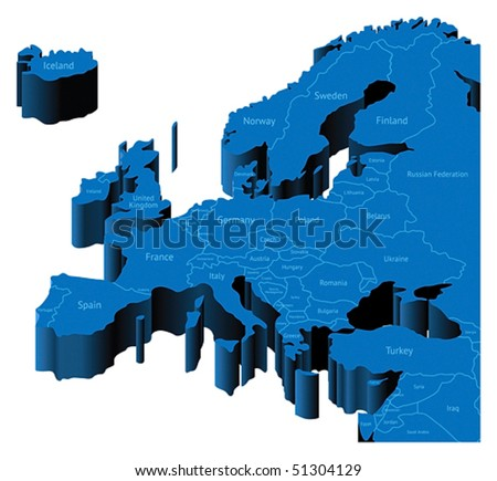Map of Europe with national borders and country names. Pseudo-3d vector illustration.