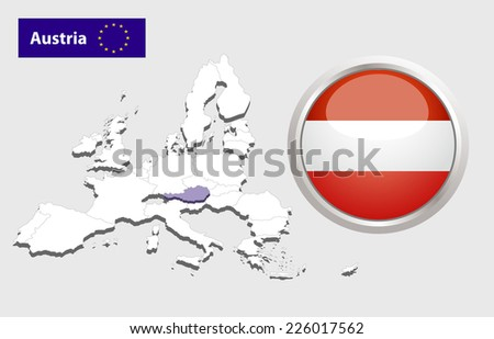 Map of European Union countries, with every state easy selectable and editable. Austria. Vector - Austria Flag Glossy Button - stock vector