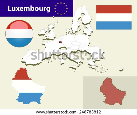 Map of European Union countries, with every state easy selectable and editable. Luxembourg. Vector - Luxembourg Flag Glossy Button