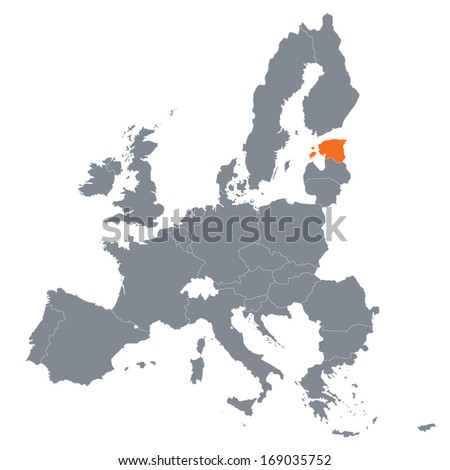 map of European Union with the indication of Estonia