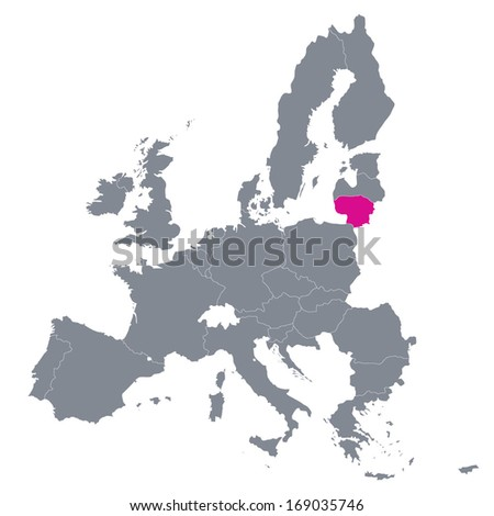 map of European Union with the indication of Lithuania