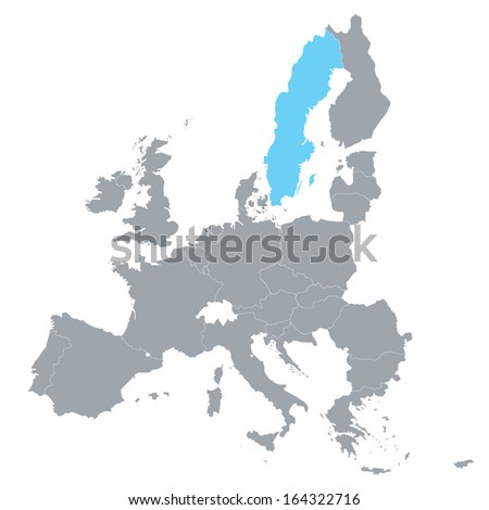 map of European Union with the indication of Sweden