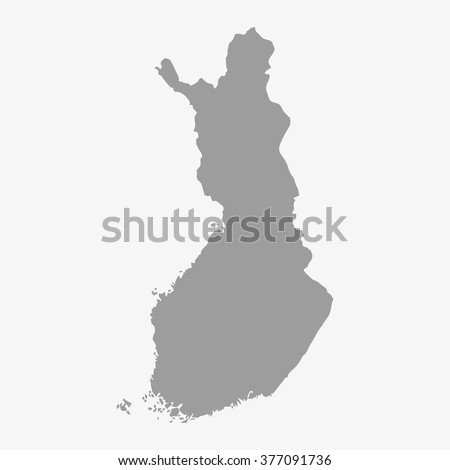 Map  of Finland in gray on a white background