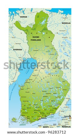 Map of Finland with the surrounding area - stock vector
