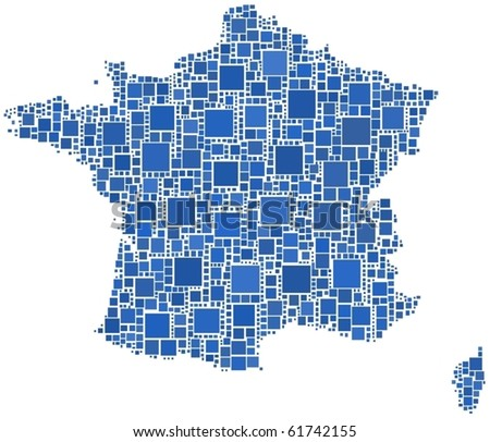 Map of France. A number of 1445 squares have been inserted into the mosaic.