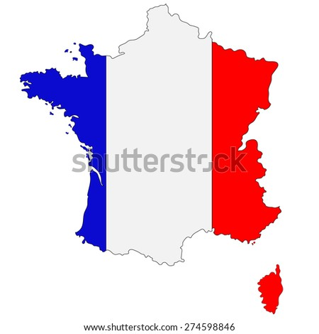 Map of France painted in national colors - stock vector
