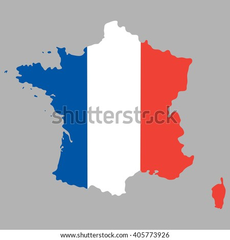 Map of France with an official national flag on a gray background - stock vector