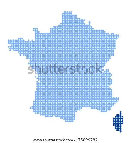 Map of France with map of Corsica  made from blue dots (vector) - stock vector