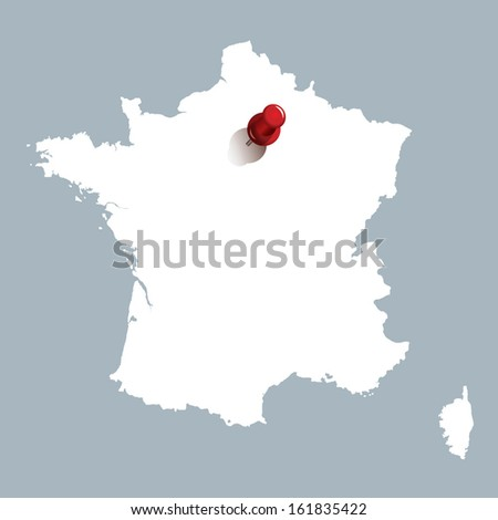 map of france with red push pin indicating the position of Paris - stock vector
