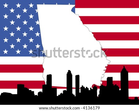 map of Georgia on American flag with Atlanta skyline