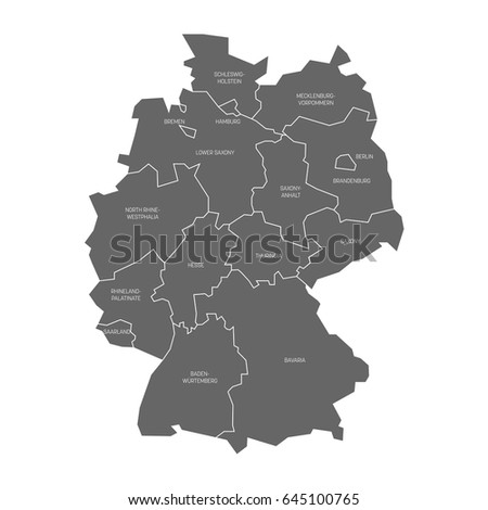 map germany devided 13 federal states stock vector hd royalty free 645100765 shutterstock