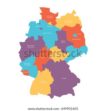 map germany devided 13 federal states stock vector 649901605 shutterstock