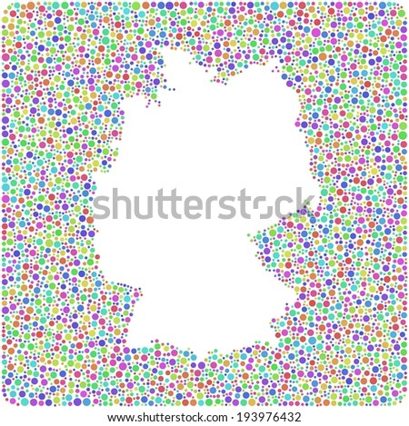Map of Germany - Europe - into a square icon. Mosaic of harlequin circles - stock vector