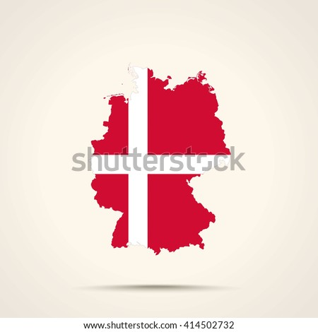 Map of Germany in Denmark flag colors