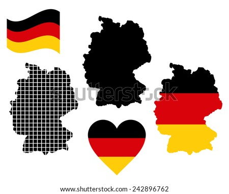 Map of Germany in different colors on a white background  - stock vector