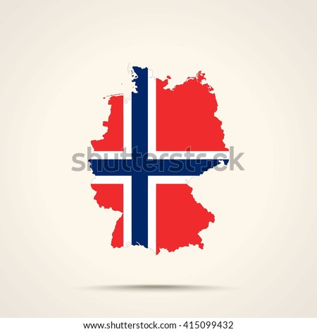 Map of Germany in Norway flag colors - stock vector