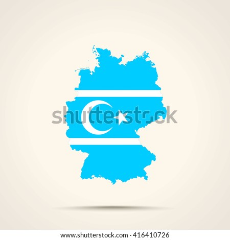 Map of Germany in Turkmeneli flag colors