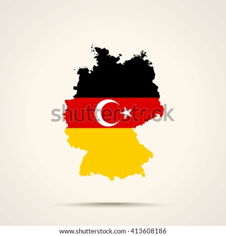 Map of Germany in Turks flag colors