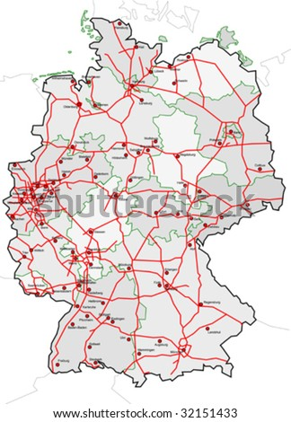 Map Germany Cities Country Autobahn Stock Vector - Map of germany with cities
