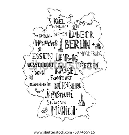 map of germany with hand drawn lettering of main cities and main symbols handwritten name