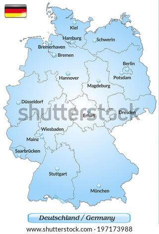 Map Germany Main Cities Blue Stock Vector Shutterstock - Germany map and cities