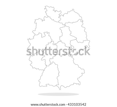 Map of Germany with regions - stock vector