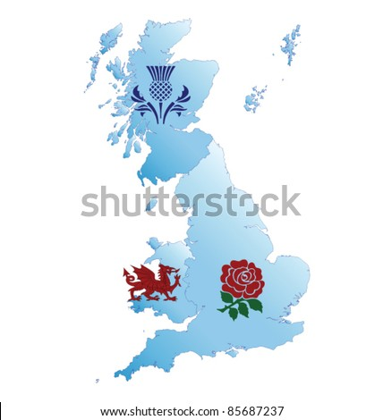 Map of Great Britain with national emblems - stock vector