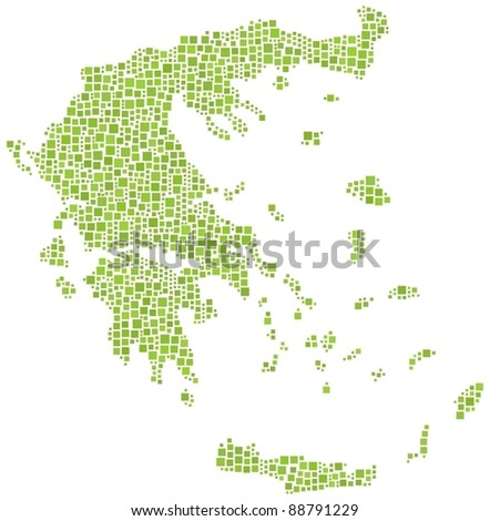 Map of Greece (Europe) in a mosaic of 1192 squares