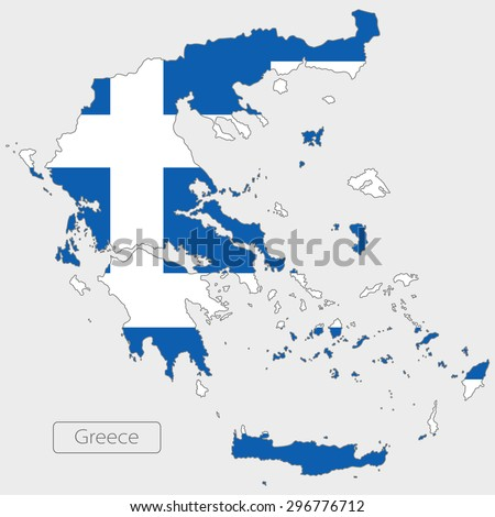 Map of Greece with an official flag. Illustration on gray background - stock vector