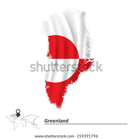 Map of Greenland with flag - vector illustration - stock vector