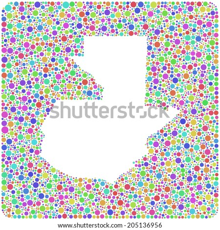 Map of Guatemala - Latin America - into a square icon. Mosaic of harlequin bubbles - stock vector