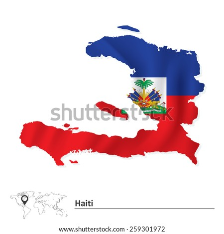 Map of Haiti with flag - vector illustration - stock vector