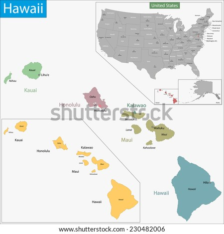 Map of Hawaii state designed in illustration with the counties and the county seats - stock vector
