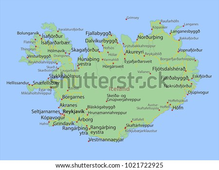 Map iceland shows country borders urban stock vector 1021722925 map of iceland shows country borders urban areas place names and roads gumiabroncs Images