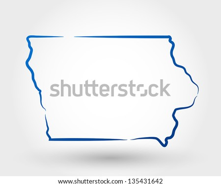 map of iowa. map concept - stock vector