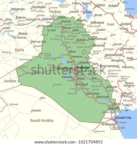 Map iraq shows country borders urban stock vector 1021704892 map of iraq shows country borders urban areas place names and roads gumiabroncs Images