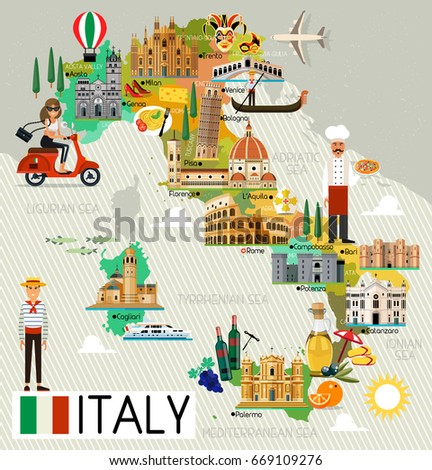 Map Italy Travel Iconsitaly Travel Map Stock Vector - Map of italy