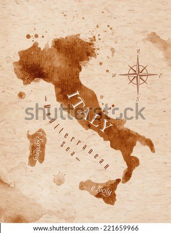 Map of Italy in old style in vector format, brown graphics in a retro style - stock vector