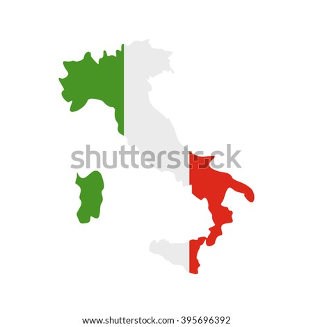 Map of Italy with national flag icon, flat style  - stock vector