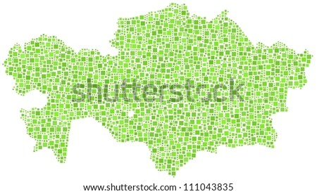 Map of Kazakhstan - Asia - in a mosaic of green squares. A number of 3063 squares are inserted into the mesh.