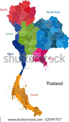 Map of Kingdom of Thailand with the provinces colored in bright colors - stock vector