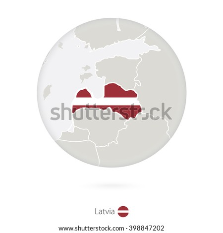 Map of Latvia and national flag in a circle. Latvia map contour with flag. Vector Illustration. - stock vector
