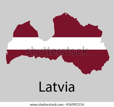 Map of Latvia with flag. Vector illustration. - stock vector