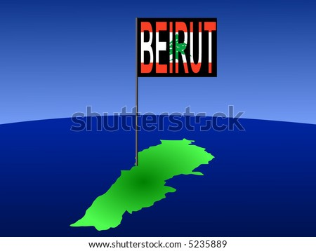 map of Lebanon with position of Beirut marked by flag pole illustration