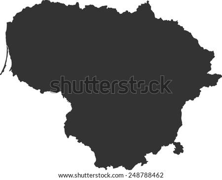 Lithuania Map Vector Stock Vector Shutterstock - Lithuania map vector