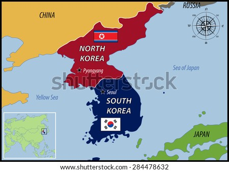 Map of Location of Korea and Flags